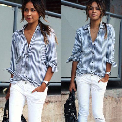 Damen Streifen Langarm Bluse Freizeit Casual T Shirt Tops Basic Büro Business GS