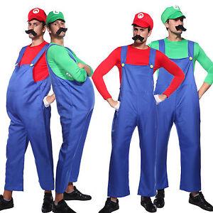 Image is loading Men-Super-Mario-Lugi-Plumber-Bros-Fancy-Dress-  sc 1 st  eBay & Men Super Mario Lugi Plumber Bros Fancy Dress Halloween Costume ...