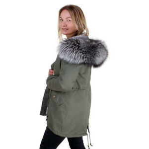 moderate cost purchase genuine running shoes Details about Long Women's Military Parka With Silver Fox Fur Hood Trim!  Jacket Coat Real Fur