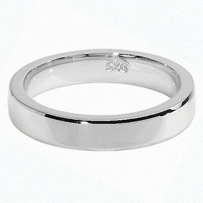 Wedding Ring Wedding Band Sterling Silver 4mm Mirror Finish Platinum Plated