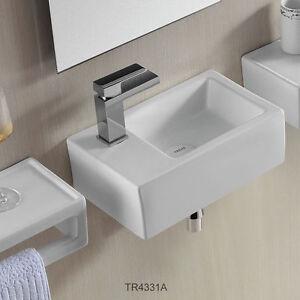 Details zu Gäste WC kleines Waschbecken Waschtisch Handwaschbecken  Wandmontage 37 x 23 cm