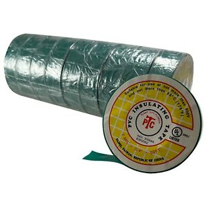 """10 Rolls Green PVC Insulated Electrical Tape - 3/4"""" x 50' FT x 7 MILL UL Listed"""