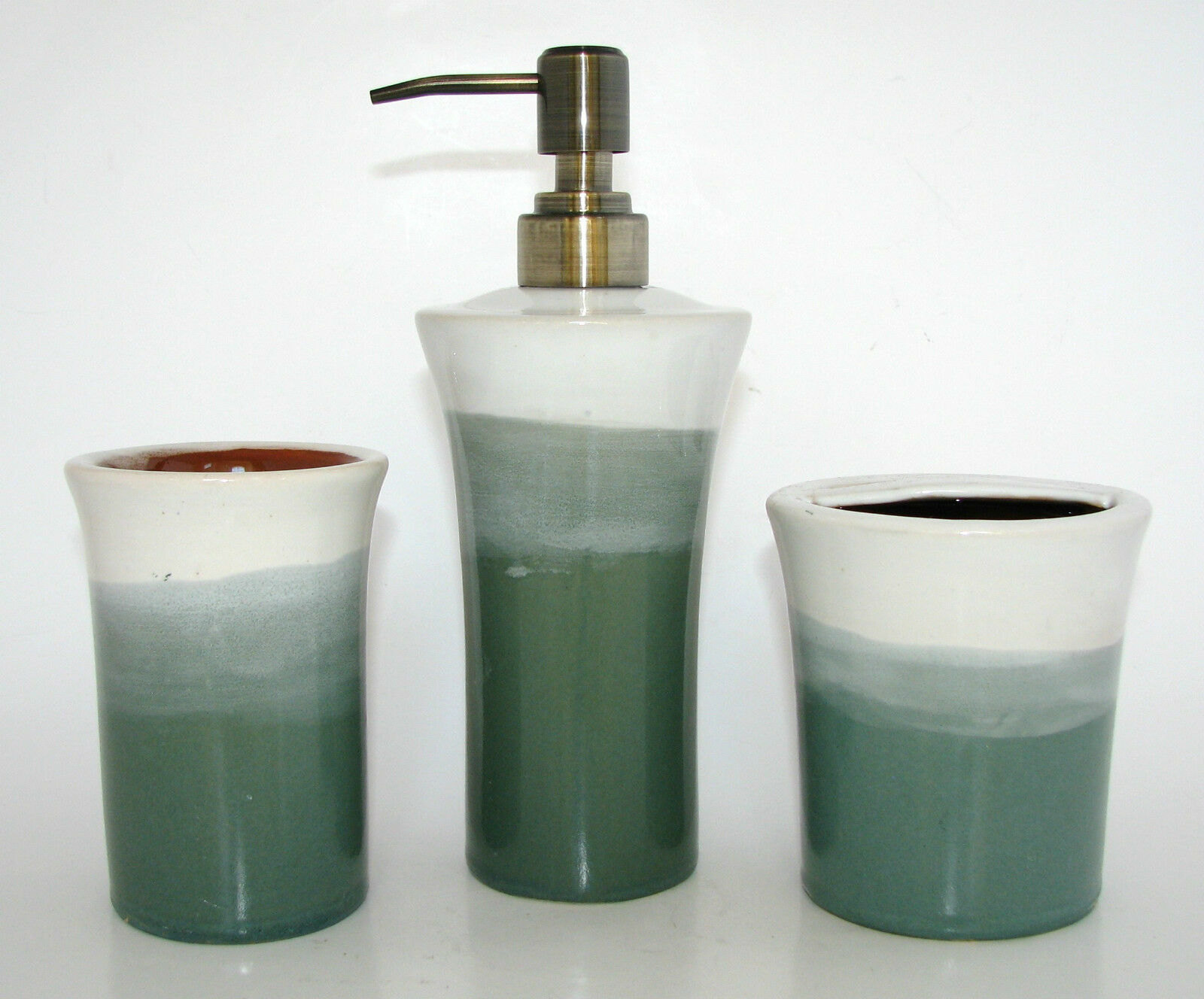 3PC SET TEAL Weiß CERAMIC BATHROOM SOAP DISPENSER+TOOTHBRUSH HOLDER+TUMBLER-NEW