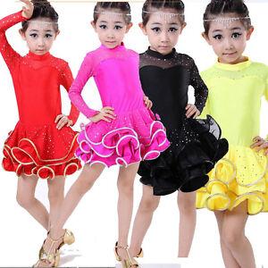 Image is loading Sequined-Girls-Latin-Dancewear-Costumes-Kids-Ballroom -Salsa-  sc 1 st  eBay & Sequined Girls Latin Dancewear Costumes Kids Ballroom Salsa tutu ...