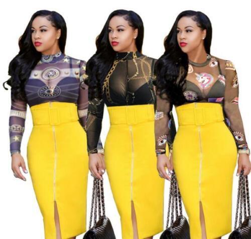 Woman Short Jumpsuit The Unicorn /& Chain Printed Long Sleeve Mesh Bodysuit S-XL