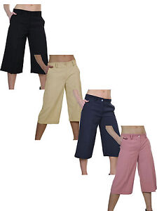 (1475) Smart Soft Culottes Cropped Trousers 8-22