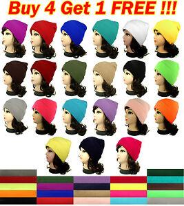 New-Men-Women-Plain-Beanie-Beany-Knit-Ski-Cap-Hat-Warm-Many-Solid-Colors-Winter