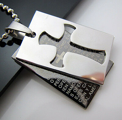 Gift Unisex's Men's Stainless Steel Pendant Double Cross Bible Necklace Chain