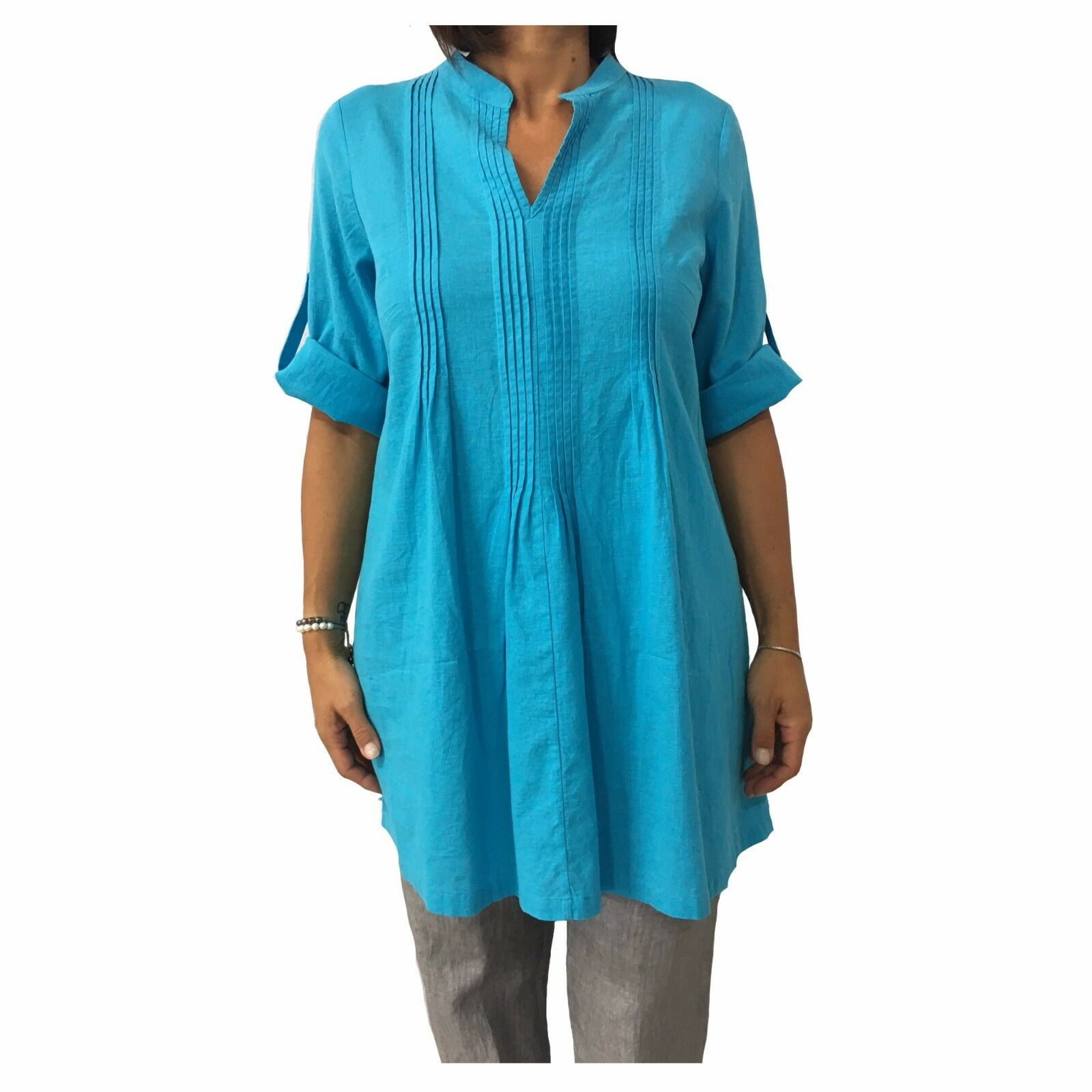 Damenhemd over türkis AND Material  52% Leinen 48% Baumwolle