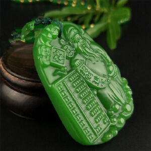 Jade-statue-China-natural-Green-jade-pendant-Necklace-Amulet-Lucky