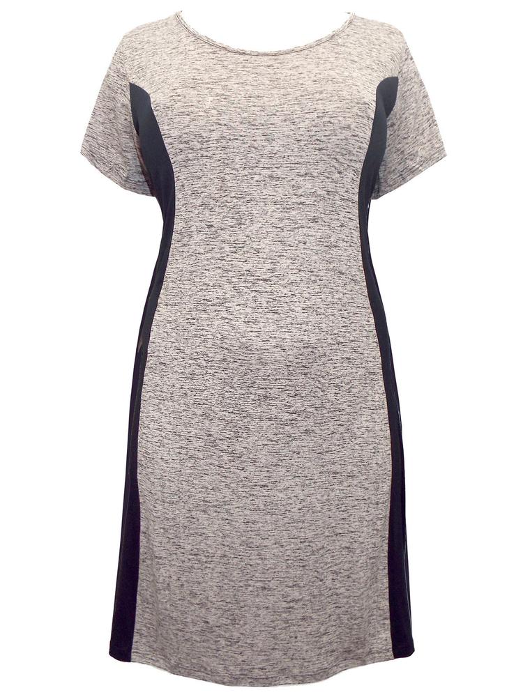 Jersey Robe Moulante Avec Contraste Panneaux Latéraux Stone Taille 16-28 Bnwt