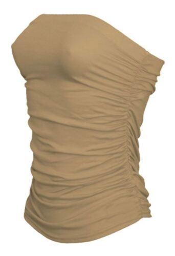 New Womens Ladies Boobtube Bandeau Strapless Ruched Crop Bra Vest Top Plus Size