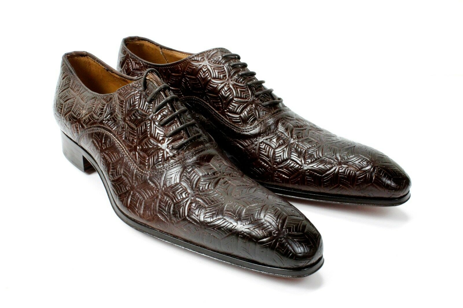 IVAN TROY Sambou Brown Handmade Italian Leather Dress shoes Oxford Office shoes