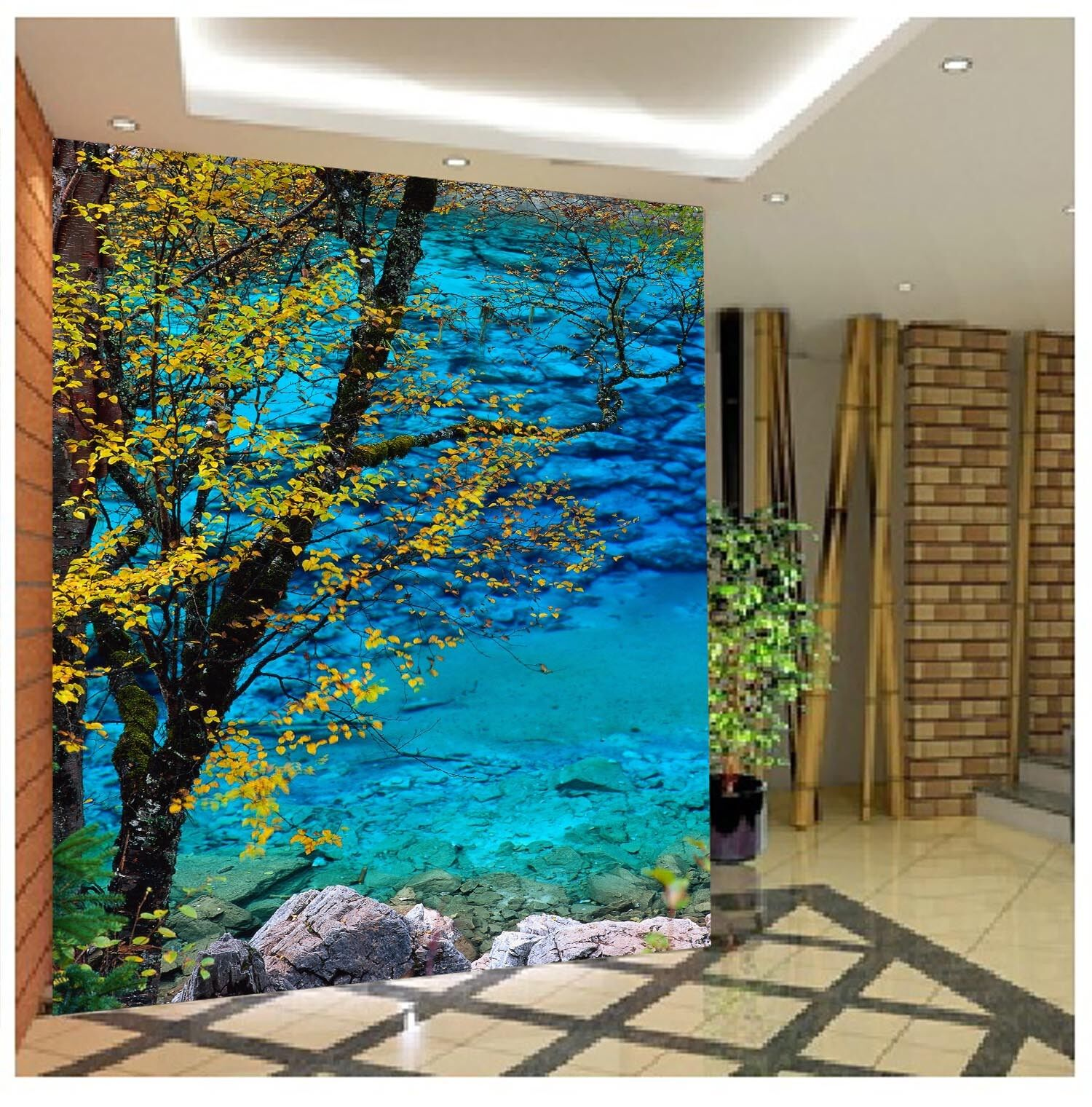3D Bule River 4127 Wallpaper Murals Wall Print Wallpaper Mural AJ WALL UK Lemon