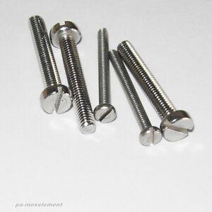 Zylinderschrauben mit Schlitz DIN 84 Edelstahl VA  M1,6 M2 M2,5 M3 M4 M5 M6 M8