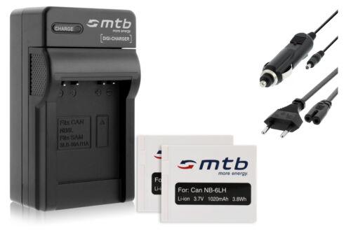 2 Akkus NB-6L Ladegerät für Canon PowerShot SD1200 IS SD1300 IS