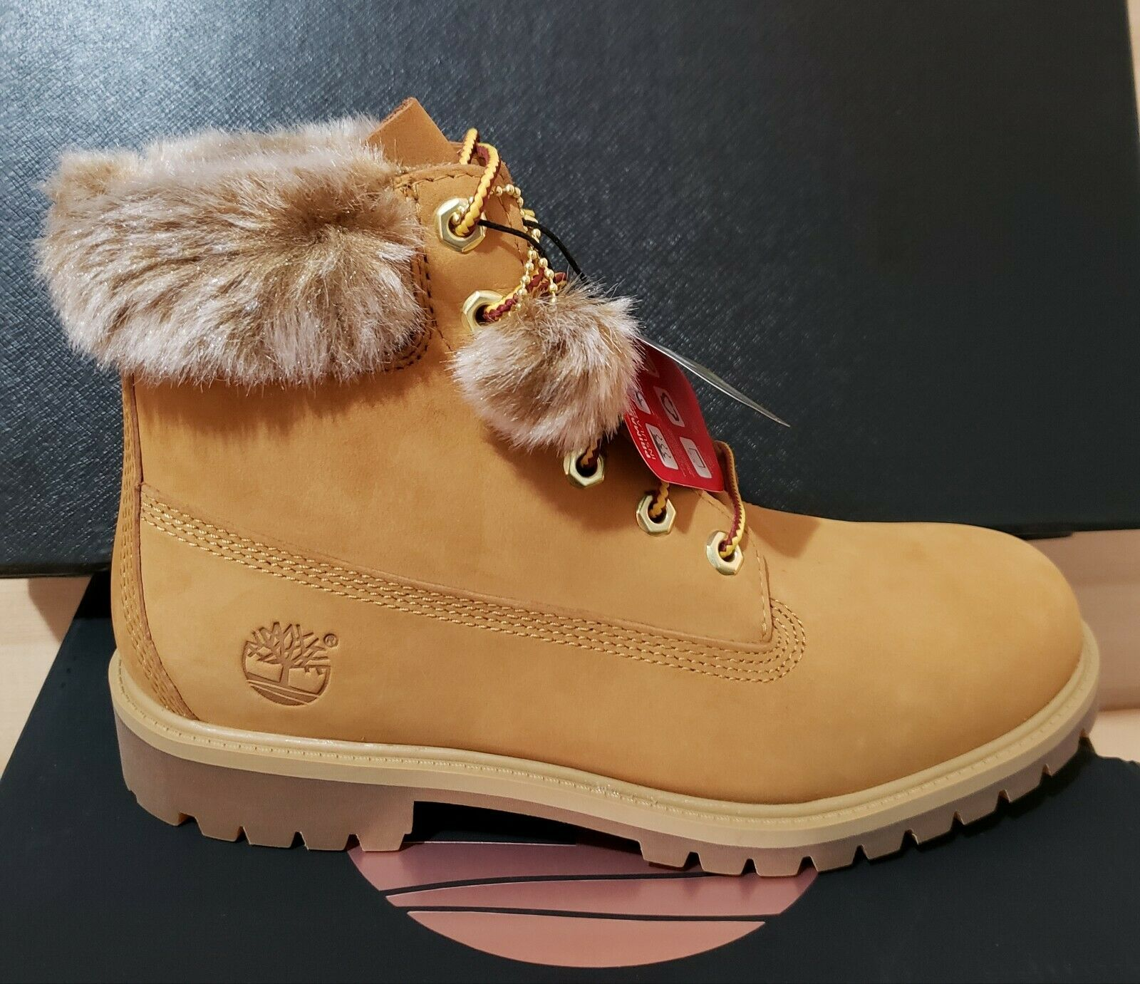 TIMBERLAND 6 inch Waterproof Boots With Fur Trim Sz Womens 8.5 Black