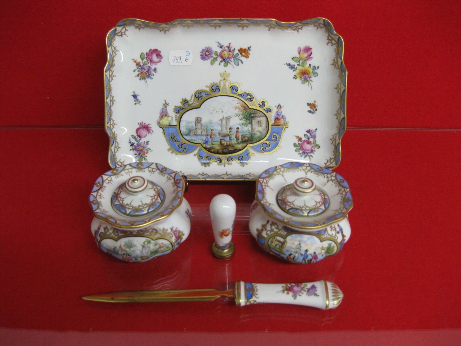Dresde potschappel porcelana escritorio set kauffahrtei kaendler tintero