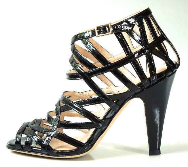 New  595 LOEFFLER RANDALL 'Adelinel' negro patent strappy open-toe cage zapatos 5