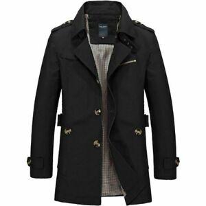Hot-Men-039-s-Winter-Mid-long-Jacket-Stylish-Fit-Trench-Coat-Jacket-Black-XXS