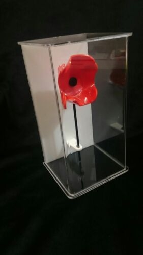 PERSPEX ACRYLIC POPPY WITH ACRYLIC DISPLAY CASE FREE STANDING WITH WHITE BACK