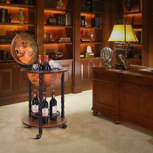 WOOD GLOBE DRINK CABINET WINE BAR MINIBAR BEVERAGE STAND BOTTLE ITALIAN 360MM