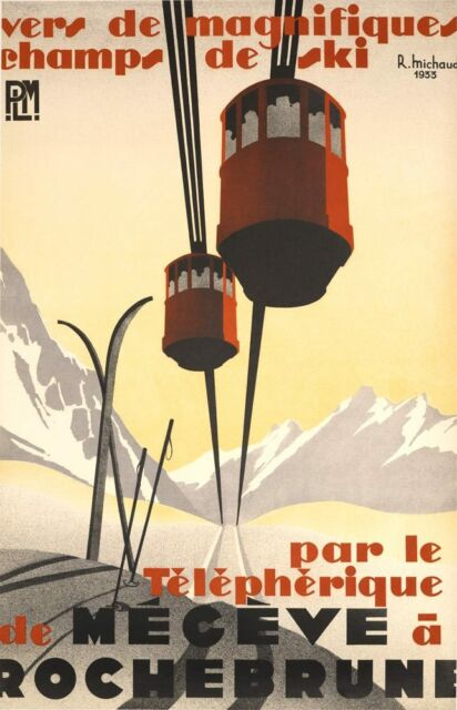 RARE MEGEVE 25X39 INCHES VINTAGE ORIGINAL FRENCH SKI  POSTER BY MICHAUD 1933