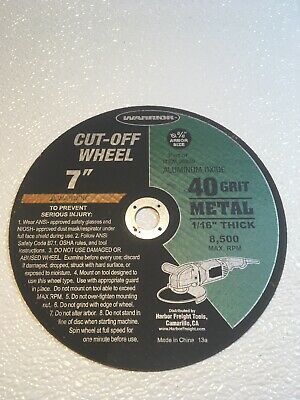 "WarriorAluminum Oxide Metal 7""cut off wheel 40 grit 1//16"" thick 5//8"" arbor size"