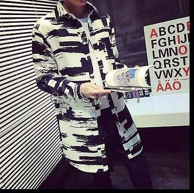 2016 New Fashion Mens Long Jackets Trench Coats Slim Fit Korean Style Clothes