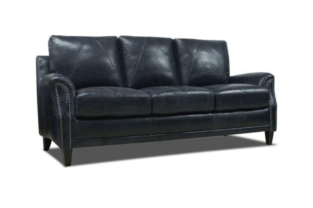 New Luke Leather Furniture Anja Midnight Blue Genuine Italian Sofa