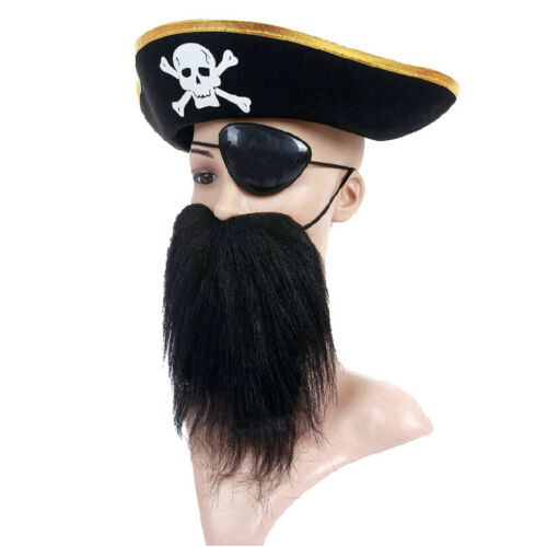 Corsair Beard Party Supplies For Halloween Party Skull Eye Patch Details about  /Pirate Hat