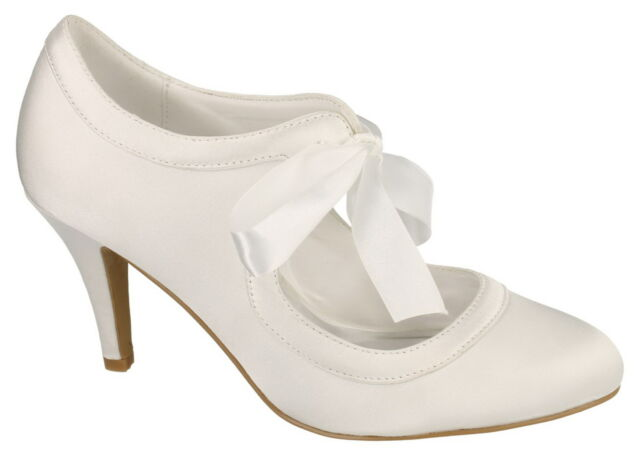 Ladies White Satin Court Shoes with a Ribbon Tie Bow. F9755