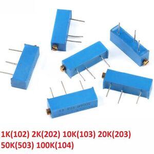 3006P Adjustable Precision Multiturn Potentiometer Resistor 1K 2K 10 20 50K 100K