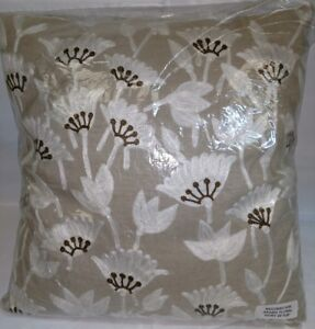 Details about New Deign Accents Cotton Arabic / Floral Ivory Throw Pillow  20'x20