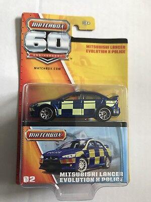 Matchbox 60th aniversario 02 Mitsubishi Lancer Evolution X policía Die Cast Modelo