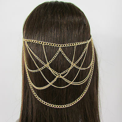New Women Waves Metal Head Chain Hair Piece Pins Jewelry Claws Gold Silver Black