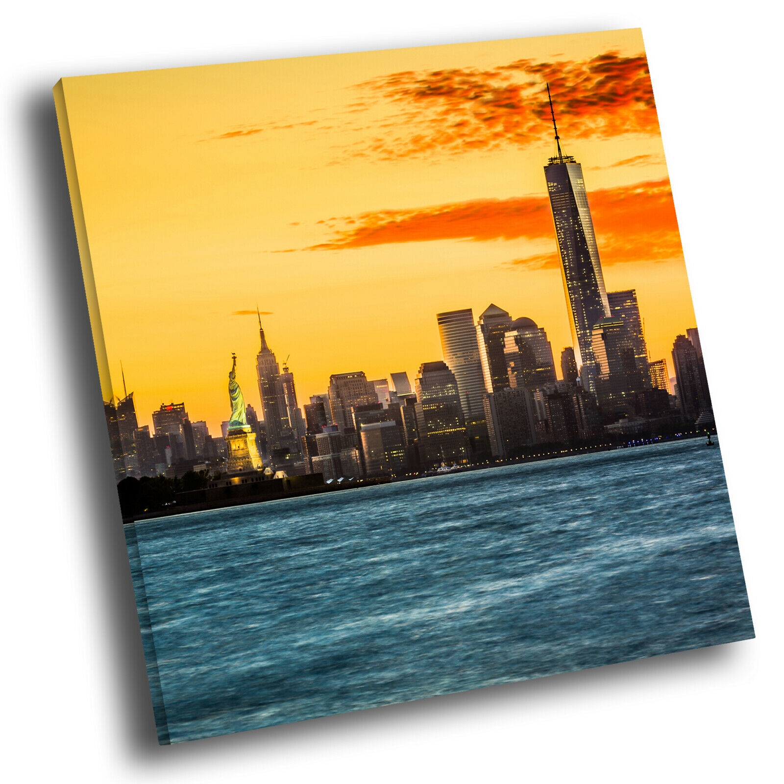 Orange Blau New York Sunset Square Scenic Canvas Wall Art Large Picture Print