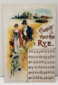 Victorian-Couple-Music-Card-Comin-Thro-039-the-Rye-to-Hagerstown-Md-Postcard-C22