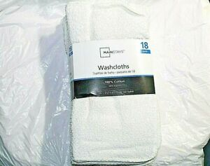 18-Pack-Mainstay-Washcloth-100-Cotton-11-034-x-11-034-White-Face-Wash-Cloth