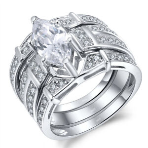 Trio-Sterling-Silver-Women-039-s-Wedding-Ring-Set-3-1CT-Marquise-CZ-Cut-Size-5-11