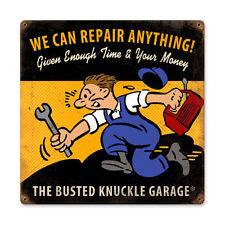 Busted Knuckle Garage Repair Anything Werkstatt Retro Sign Blechschild Schild