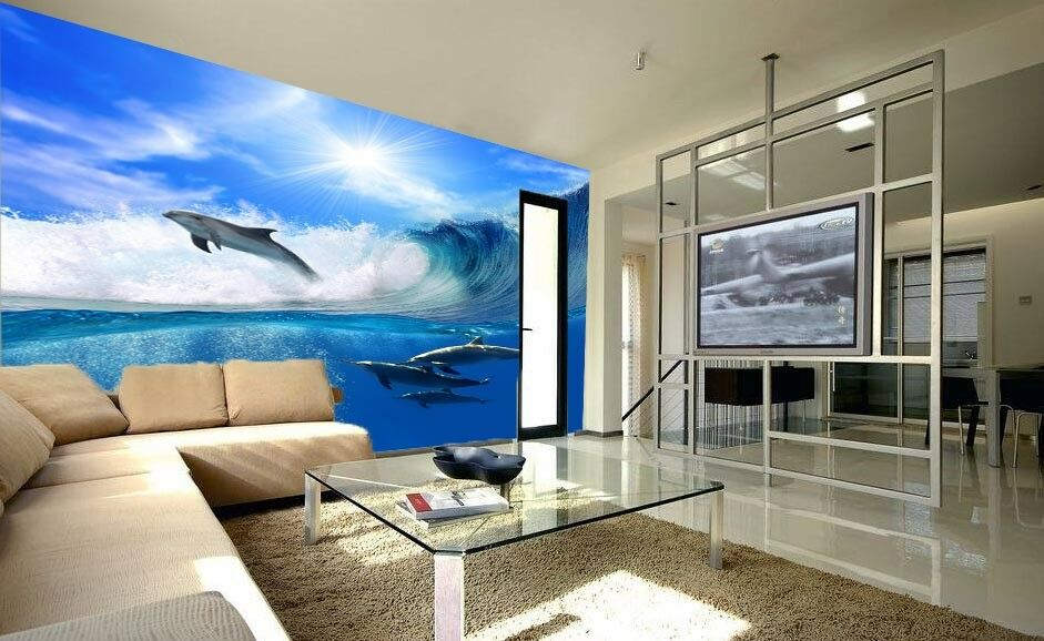 3D Wave Dolphin 52 Wallpaper Murals Wall Print Wall Mural AJ WALL AU Lemon