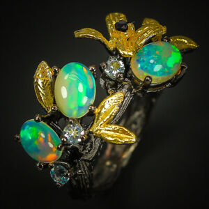 Fashion-Art-Design-Jewelry-Natural-Opal-Gemstone-Sterling-Silver-Ring-RVS297
