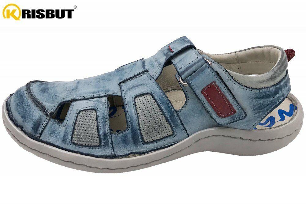 Krisbut Herren Sandale Blau Schuhe Leder Sommer Schuhe 1187-4