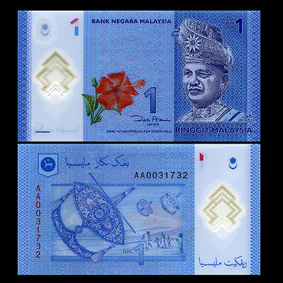 Malaysia 1 Ringgit Polymer UNC Banknote Money P51 Year 2012