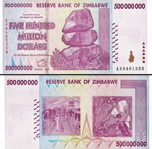 2008 UNC Zimbabwe 500000000-500 Million Dollars P-82 Prefix AA