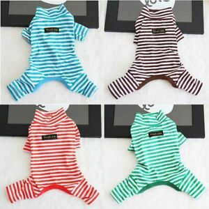 Autumn-Dog-Pajamas-Pet-Puppy-Clothes-Jumpsuit-Stripe-Winter-Sleepwear-Teddy-Cat