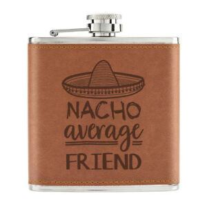 Nacho-Moyenne-Friend-170ml-Cuir-PU-Hip-Flasque-Fauve-Worlds-Best-Drole-Awesome