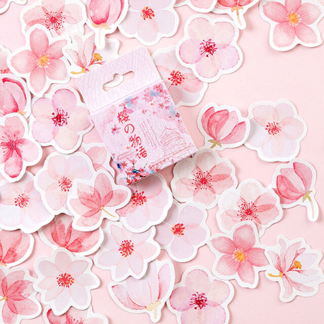45pcs/pack Cherry Sakura Journal Stickers DIY Diary Stationery StickersPY