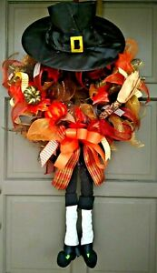 Fall-Thanksgiving-Pilgrim-Wreath-Deco-Mesh-Autumn-Door-Decor-with-Legs-amp-Hat